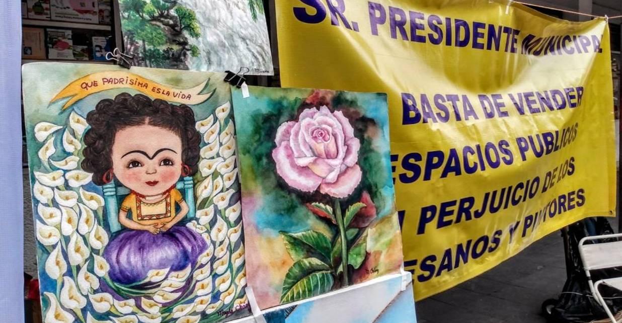Otro día de Protestas en Cuernavaca: Artesanos y artistas de la calle Hidalgo manifiestan porque se les impidió instalarse
