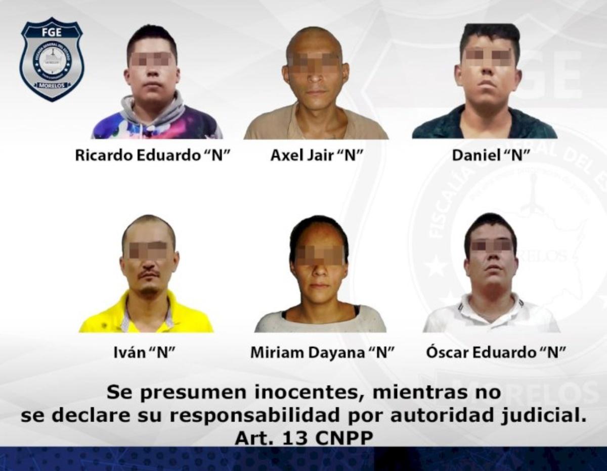 Una mujer y cinco hombres miembros de una banda criminal que operaba en Jojutla y Puente de Ixtla fueron aprehendidos por la AIC