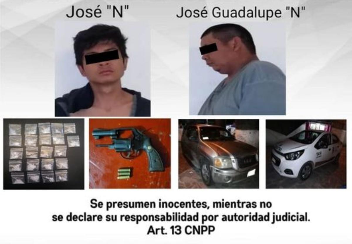Dos hombres y un menor de edad arrestados en Jojutla por poseer 22 dosis de cristal y asesinar a disparos a un sujeto en Tequesquitengo