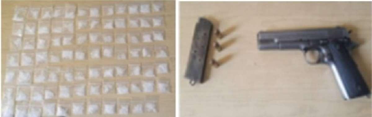 """83 dosis de """"cristal"""" y una pistola calibre .45 colonia Puente Blanco de Jiutepec"""