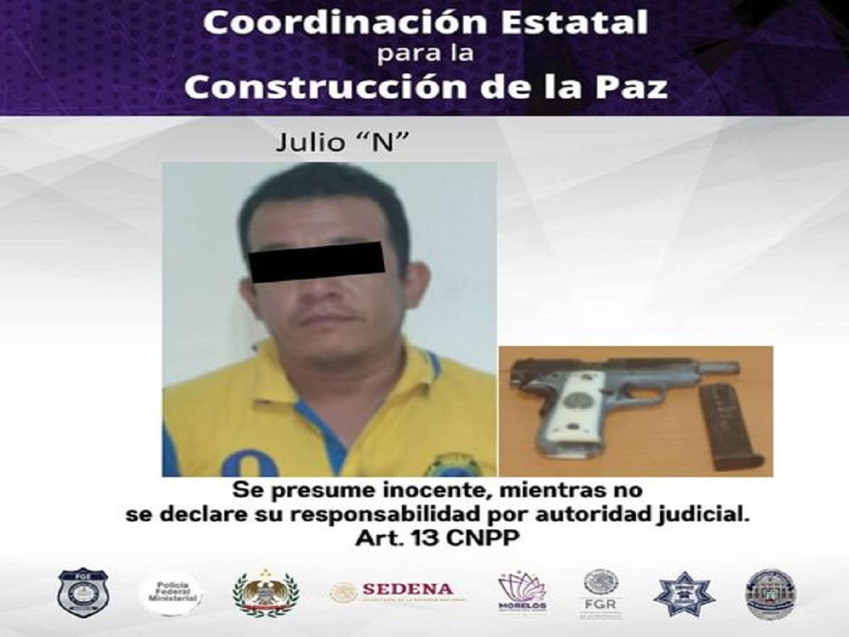 Hombre detenido - Temixco - Porte ilegal de arma .380
