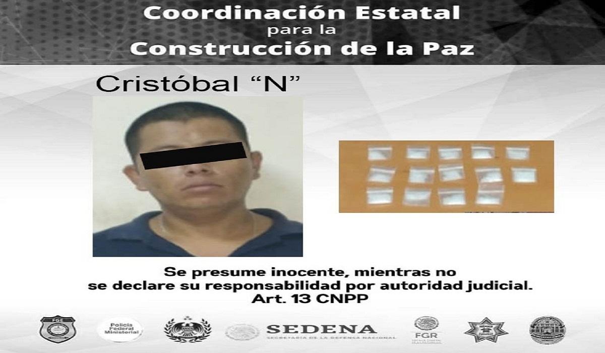Policía Morelos detiene a un hombre con 14 dosis de Crystal en Temixco
