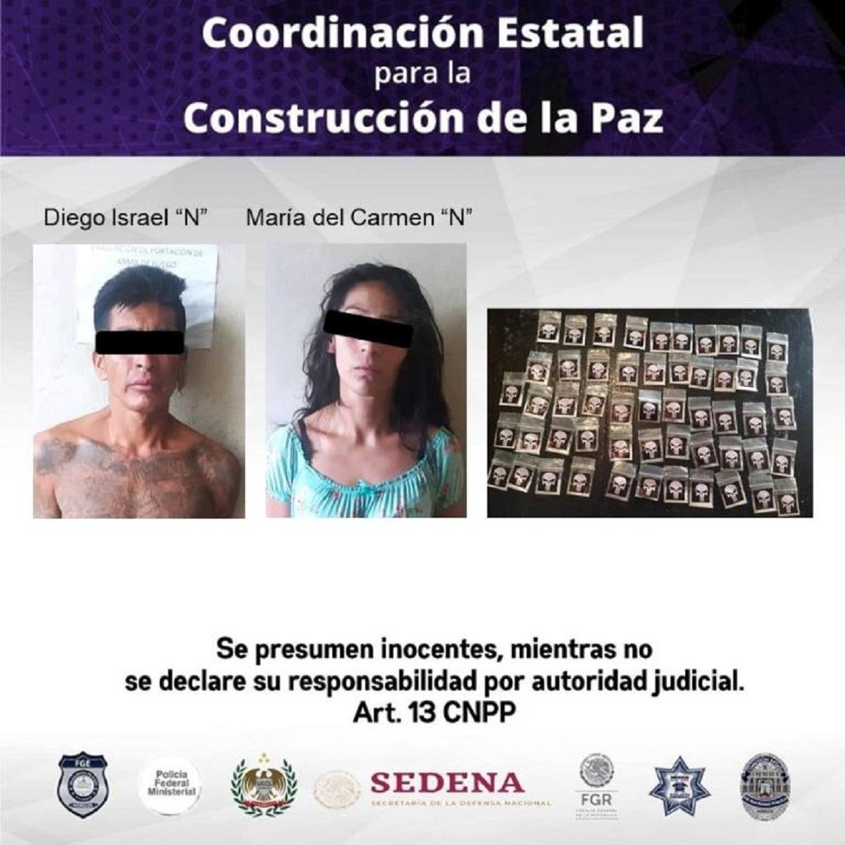 Por golpear a su madre de 51 años, un hombre y su pareja fueron detenidos con más de 50 bolsitas con crystal en el municipio de Emiliano Zapata