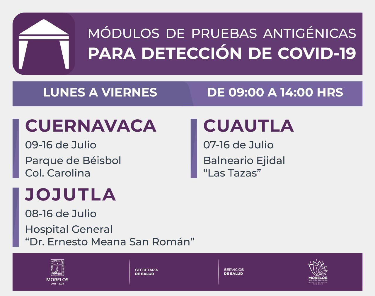 Pruebas antigenicas covid-19 morelos