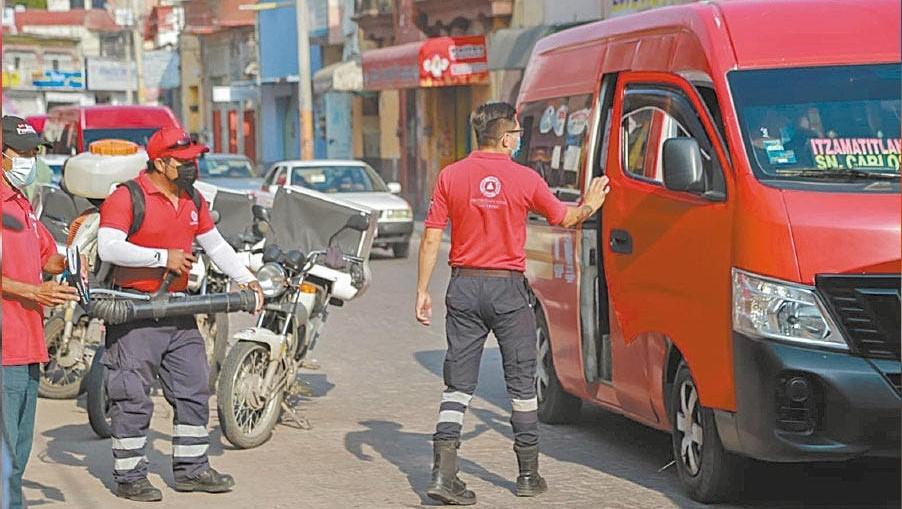 jornada de sanitización del transporte público de Yautepec
