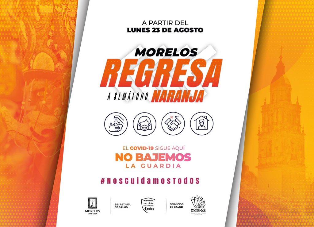 Morelos pasa a Semáforo epidemiológico Naranja por Covid-19 ¿Qué actividades están permitidas?