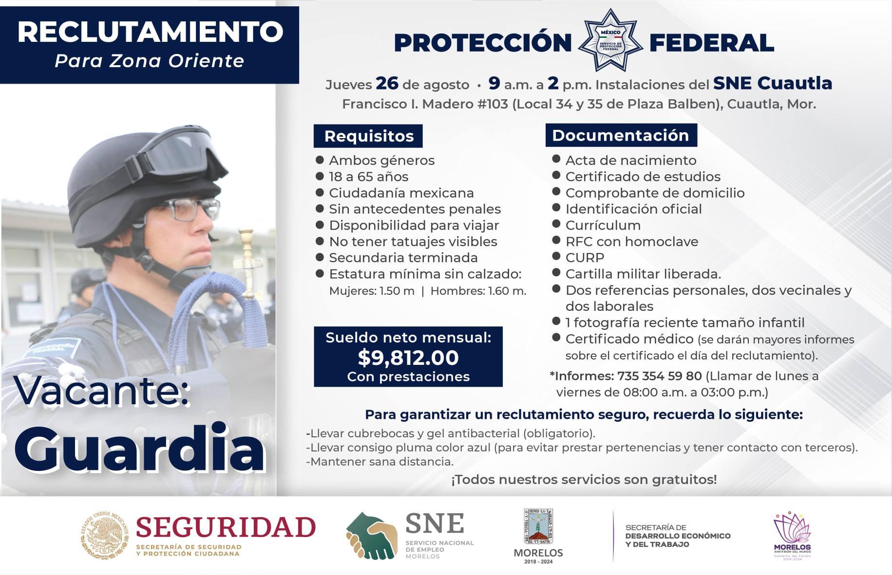 SNE tiene Reclutamiento Para La Vacante De Guardia para la Zona Oriente de Morelos
