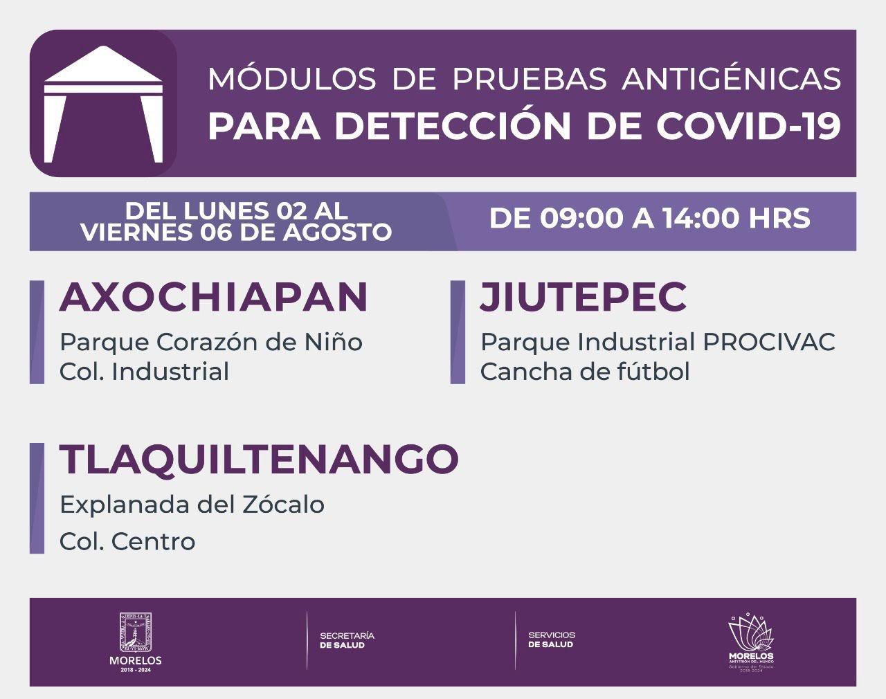 ¿Dónde Hacerte La Prueba Antigénica Para Covid-19 Esta Semana En Morelos? | Del 02 Al 06 De Agosto de 2021