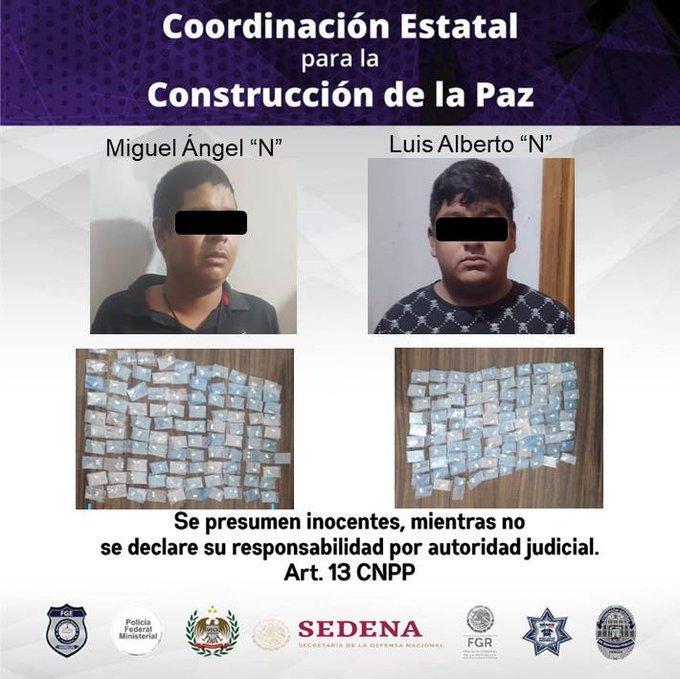 Arrestan a 2 hombres por distribución de drogas en Cuernavaca
