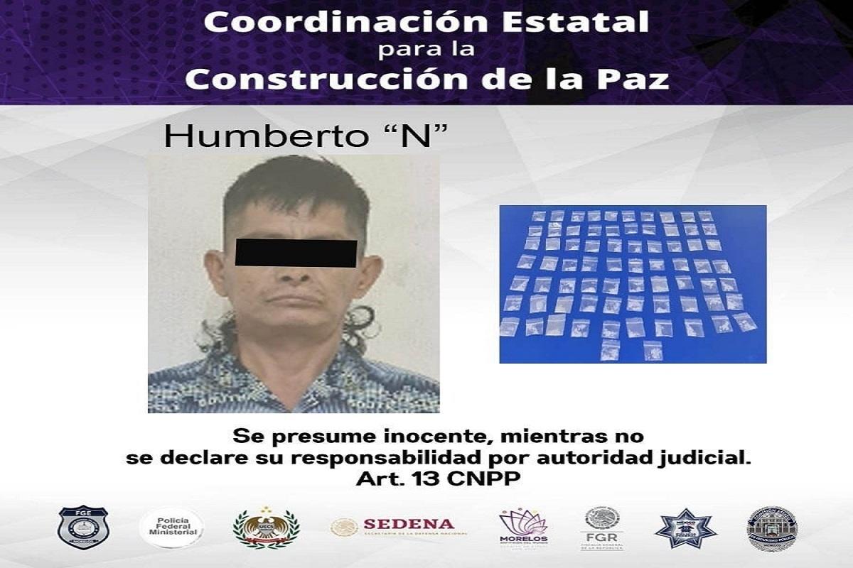 """Detenido con 72 dosis de """"crystal"""" en la colonia Morelos de Temixco"""