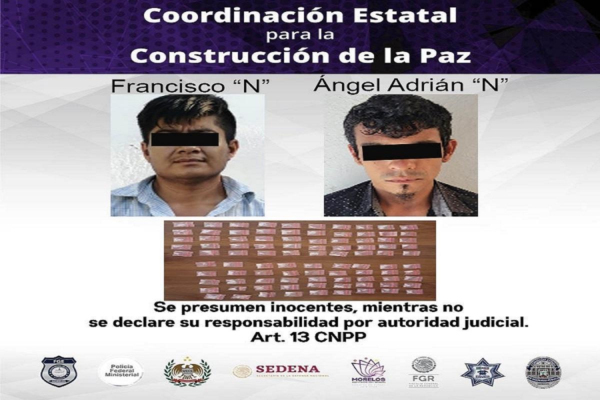 Detenidos con casi 100 dosis de droga en el municipio de Jojutla