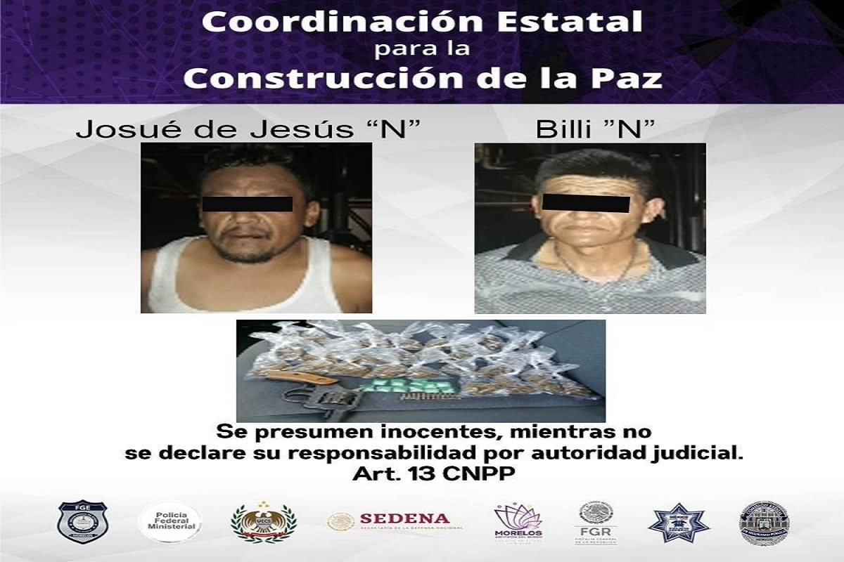 """Detenidos en Emiliano Zapata con 42 dosis de marihuana y """"crystal"""" y en posesión de un revolver"""