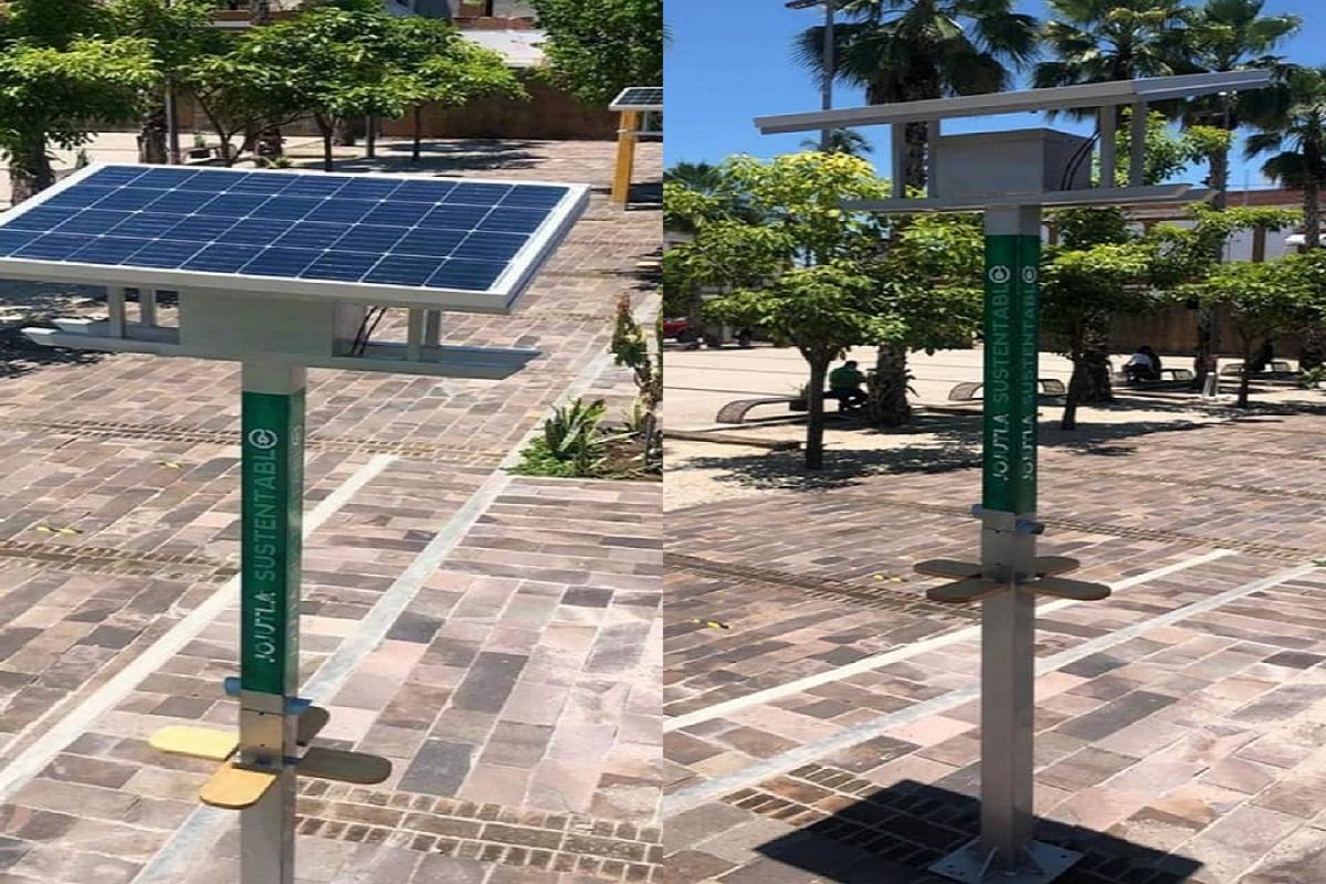 Energía sustentable Cargadores solares para celulares en espacios públicos de Jojutla