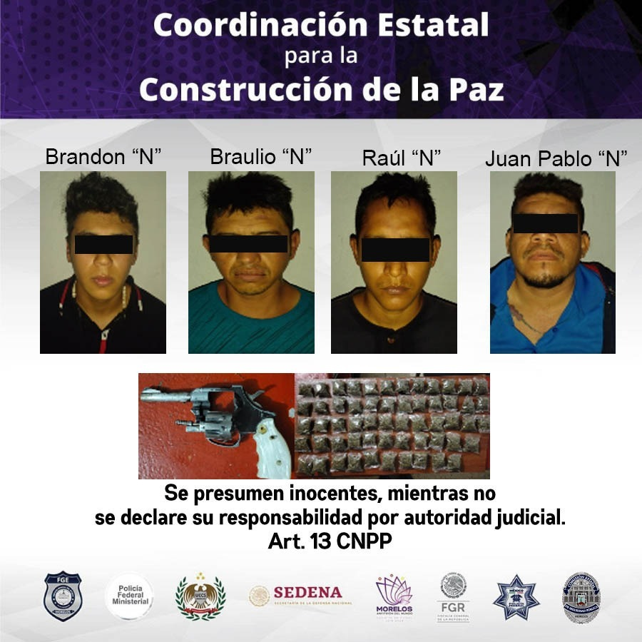 Arrestan a 4 sujetos en Jojutla por posesión de drogas y portar armas de fuego
