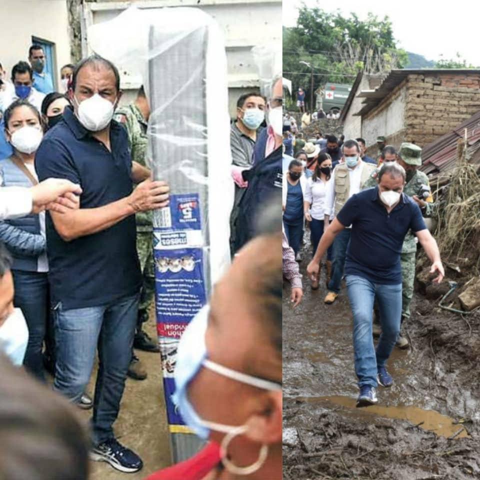 Entrega el gobernador Cuauhtémoc Blanco, colchones, ropa y víveres a familias afectadas por las lluvias en Tlayacapan